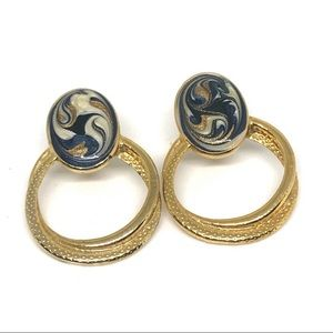 Vintage Gold & Navy Hoop Earrings Swirl Pattern